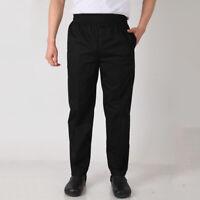 Men Chef Loose Pants Stretch Drawstring Waist Cook Restaurant Uniform Trousers