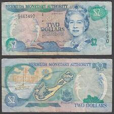 Bermuda 2 Dollars 2000 (F-VF) Condition Banknote P-50a QEII