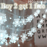 Bright white Christmas LED Curtain Window Snowflake String Fairy Lights Decor UK