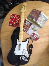 Xbox 360 Rock Band Wired Guitar Controller 822152 Harmonix Black & White Bundle!