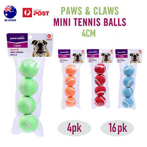 4/16pk Mini Tennis Balls 4CM Dog Puppy Small Play Throw Fetch Training Cat Toy