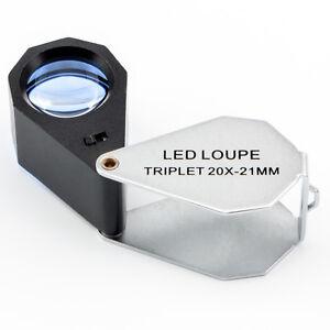 Folding LED Triplet Jewellers Loupe Magnifier,  ESL-SG-20-LED, 10x