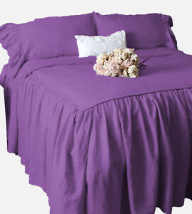"""Dust Ruffle Bed Spread/Bed Cover with Pillowsham 15"""" drop 800 TC Egyptian Cotton"""