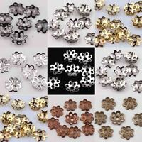 500Pcs Silver Golden Plated Flower Charms Beads Caps Jewelry Findings 7mm Hot