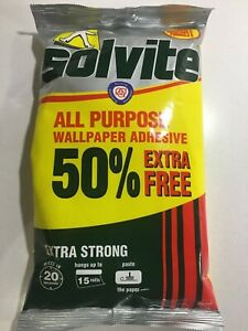 SOLVITE ALL PURPOSE EXTRA STRONG WALLPAPER ADHESIVE DECORATING 15 ROLLS 277g