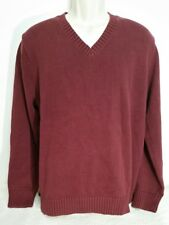 LL Bean Sweater XL Double L Red 100% Cotton Combed Knitted V Neck Long Sleeve