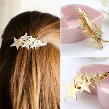 Women Gold Silver Star Hair Clip Barrette Hairpin Bobby Pin Jewelry Popular H