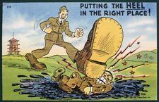 Stomping on the Enemy!  WW II 1942 Tichner Bros propaganda postcard