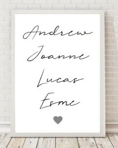 Family Names Personalised Typography A4 Poster Print PO278