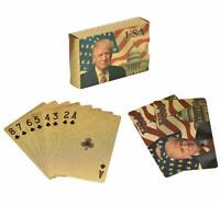 Donald Trump Gold Foil Waterproof Plastic Playing Poker Deck Game Cards USA