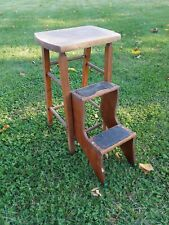 Vintage Wood Country Kitchen Library Bed Fold Out Step Stool Chair Original 25""