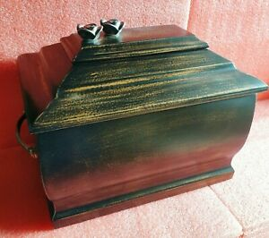 Dark Walnut Wood Casket Funeral Cremation Ashes Urn with Roses for Adult (206A)