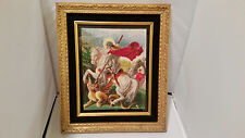 """""""Saint George and the Dragon"""" hand made Needlepoint Tapestry Gobelin Rare piece"""