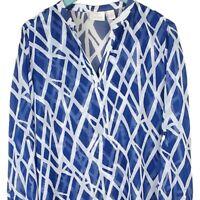 CHICOS Size 2 Blue White Sheer Tunic Top Roll Tab Sleeve High Low Asymmetric Hem