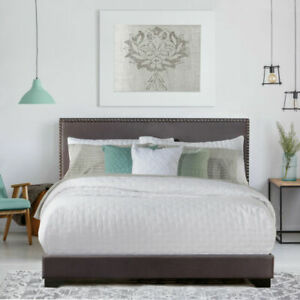 Hillsdale 2660-500L Willow Nailhead Trim Upholstered Queen Bed - Charcoal