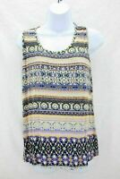 Rue Juju Womens Sleeveless Top Multi Colored Front Design Size S
