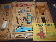 vintage Billy Builder vintage childrens wood delux tool chest set metal tools
