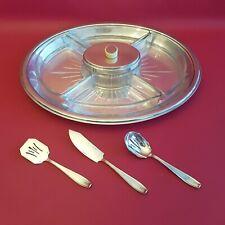 Ancien serviteur plateau apéritif Christofle en métal argenté et verre art déco