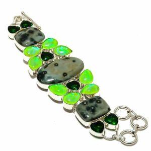 """Ocean Jasper & Triplet Opal & Emerald 925 Sterling Silver Bracelet 7.99"""" B6867"""