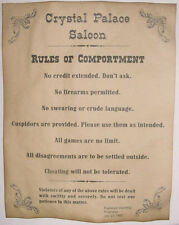 Crystal Palace Saloon Rules Poster, old west, western, wanted