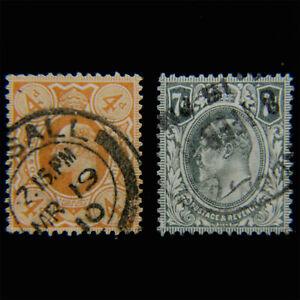 GREAT BRITAIN, Edward VII, Scott #144-145, 4p & 7p, Cplt Set, Used, VF, cv$38.