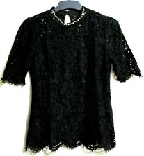 Black Lace Top With Neck Embellishments