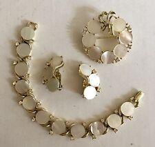 SALE! Vintage Lisner Jewelry Set MOP w/Rhinestone Brooch Earrings Bracelet