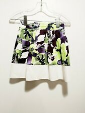 NEW Midi Skirt Mi Collection White Floral Size 4 Below Knee Length A-Line Style