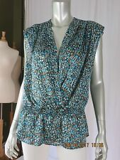 SUNNY LEIGH SZ XL NWOT Trendy Enveloped Plunging V-Neck Blouse Pretty Top Shirt