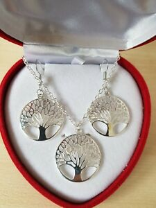 """925 Sterling Silver Tree of Life Pendant with 18"""" Necklace Chain + Earrings"""