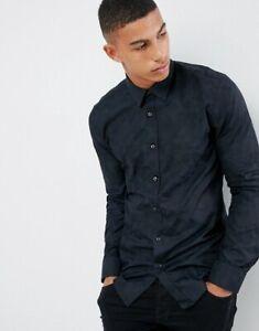 Hugo Boss Elisha Extra Slim Fit Poplin Shirt in Tonal Camo Jacquard size M