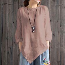1f41fea71de Women Vintage Cotton Linen Long Sleeve Baggy Shirt Casual Loose Blouse Tops  WHS
