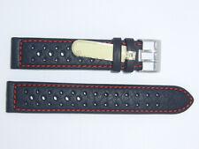 Di-Modell Impermeable perforado 19 mm Negro reloj banda correa Rallye Wapro Rojo