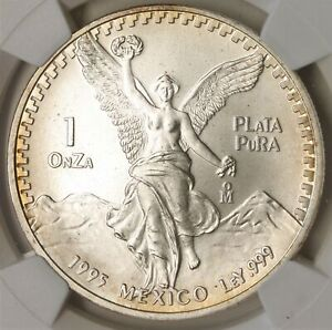 Mexico 1995 Mo Silver 1 Onza Libertad MS 69 NGC Light Toning 774I