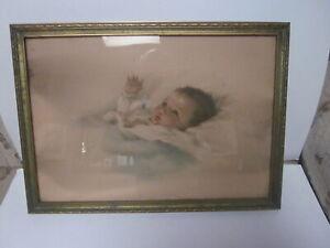 2 ANTIQUE BESSIE PEASE GUTMANN BABY PRINTS A LITTLE BIT OF HEAVEN & AWAKENING