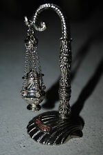 "MINIATURE Ornate Church Thurible Censer ""Rdo. de SANTIAGO"" w Stand"