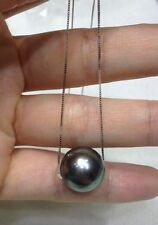 AAA 10-11 mm round south sea natural black pearl pendant necklace 18''