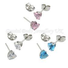Heart Cubic Zirconia & surgical steel stud earrings (standard ear piercing) with