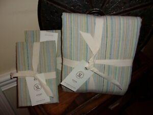 NIP Southern Living Austen Green Multi Striped Full/Queen Duvet Cover Set 3pc