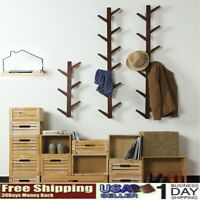 Wall-Mounted Tree Raft Hanger Tree Branch Coat Rack And Hat Stand With 6-Hook US