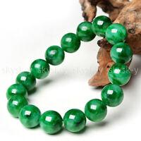 Natural 12mm Green Jade Jadeite Round Gemstone Beads Stretchy Bracelet Bangle