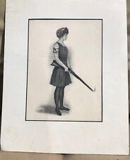 Vintage Clarence Underwood Print Girl with Smoking Gun Bathing Costume matted