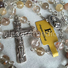 Rare Rutilated Quartz Beads 5 DECADE Catholic Rosary CROSS gifts necklace Box