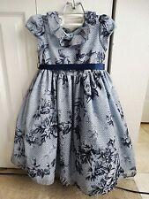 LAURA ASHLEY LONDON GIRL'S DRESS sz 6 GREY FLORAL FLOCKED PRINT RUFFLES