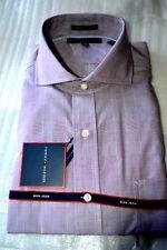 $80 NWT TOMMY HILFIGER 17 17.5 Wine Glen plaid Non Iron PIMA cotton dress shirt