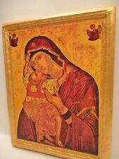 Virgin Mary Jesus Christ Rare Byzantine Eastern Greek Orthodox Icon Art on Wood