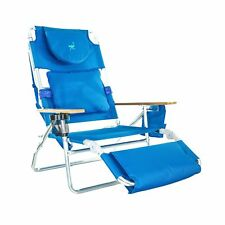 Ostrich Deluxe Padded 3-N-1 Outdoor Lounge Reclining Beach Chair, Solid Blue