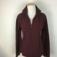 Columbia Women's Maroon Fleece Pullover Half Zip Lightweight Sweater Size Small