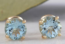 2.00 Carats Natural Aquamarine 14k White Solid Yellow Gold Stud Earrings