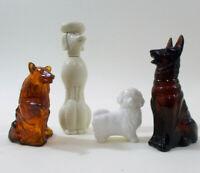 Lot of 4 Vintage AVON Dog Perfume Bottles COLLIE Pekingese GERMAN SHEPARD Poodle